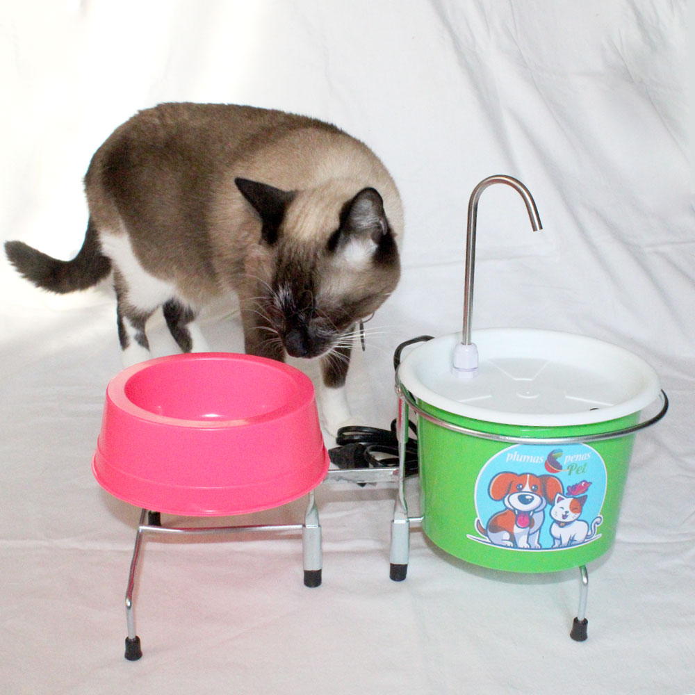 Comedouro e Bebedouro Fonte Gatos e Cães 18 cm Branco