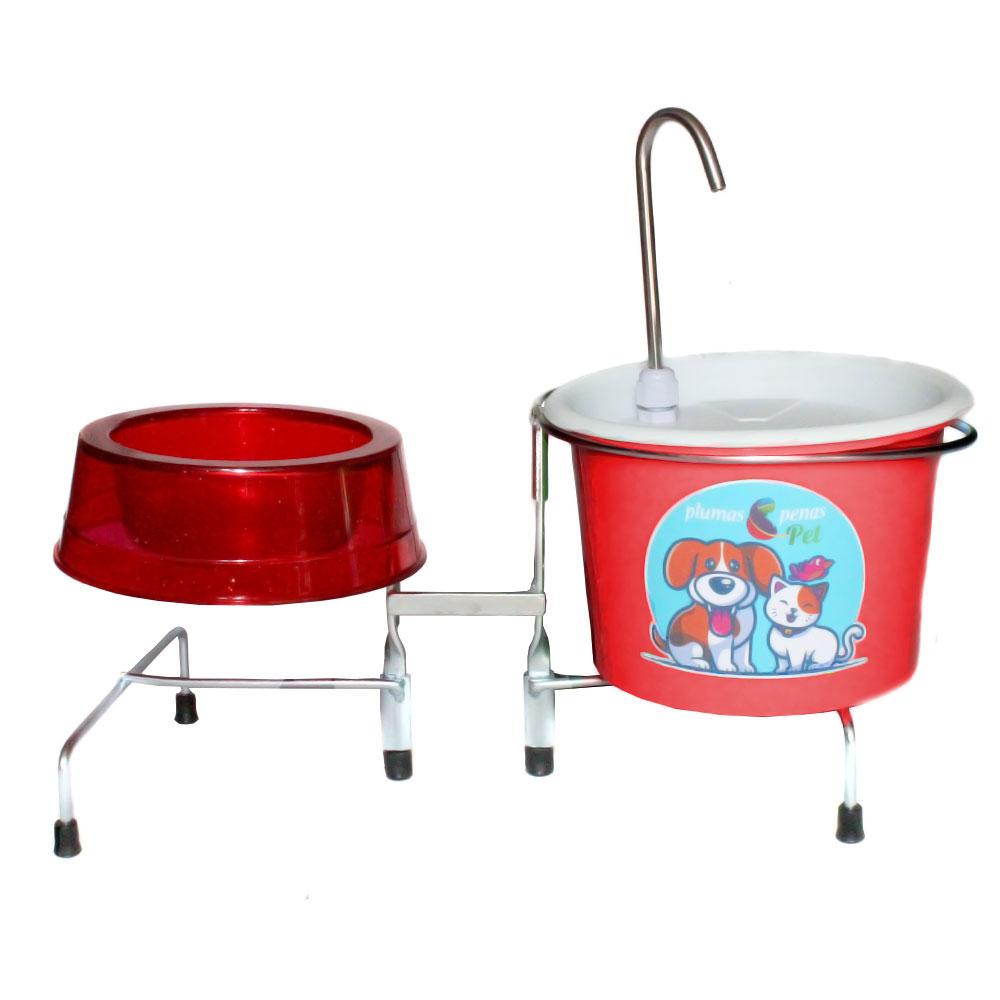 Comedouro e Bebedouro Fonte Gatos e Cães 18 cm Vermelho