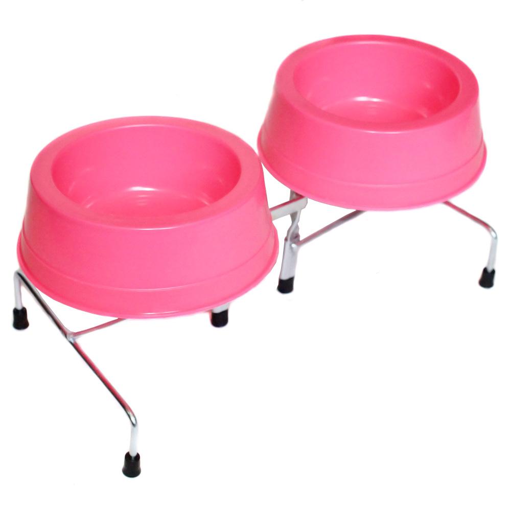 Comedouro e Bebedouro Pet Duplo Cães e Gatos P Rosa Neon