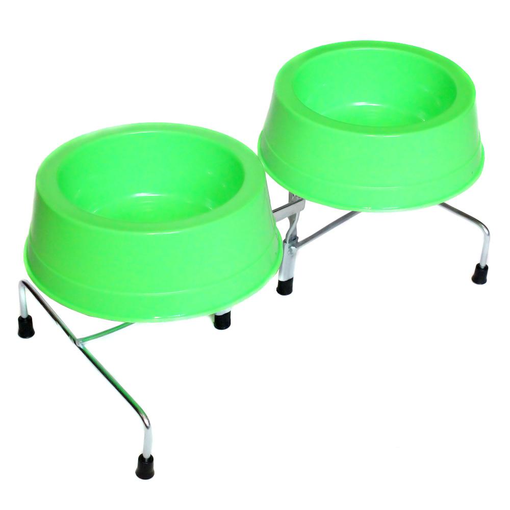 Comedouro e Bebedouro Pet Duplo Cães e Gatos P Verde Neon