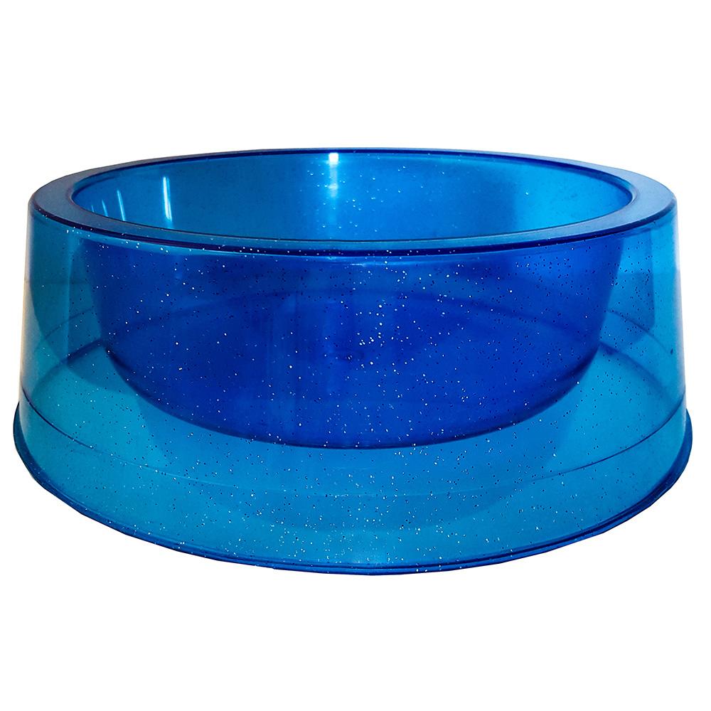 Comedouro Médio 1000 ml Glitter Gatos e Cachorro - Azul