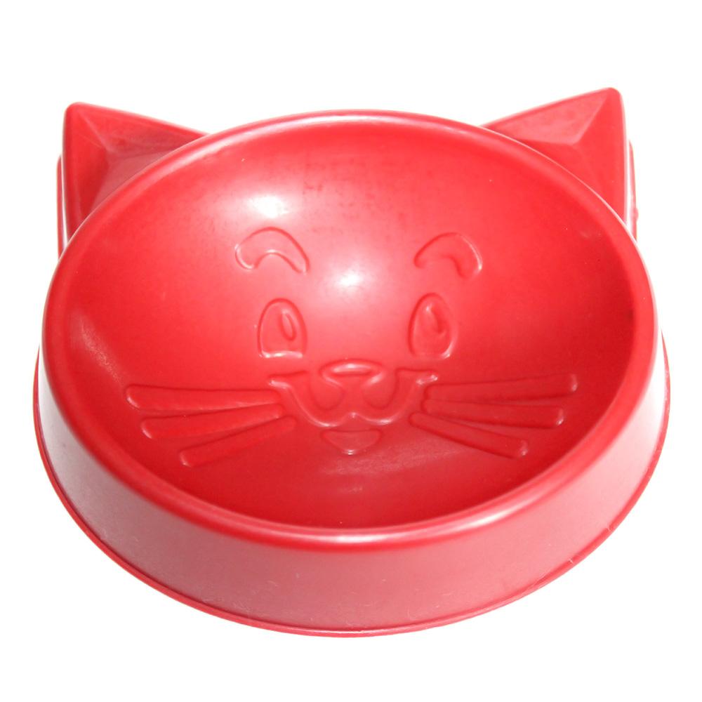 Comedouro Pequeno Cara de Gato 100 ml para Gatos - Vermelho