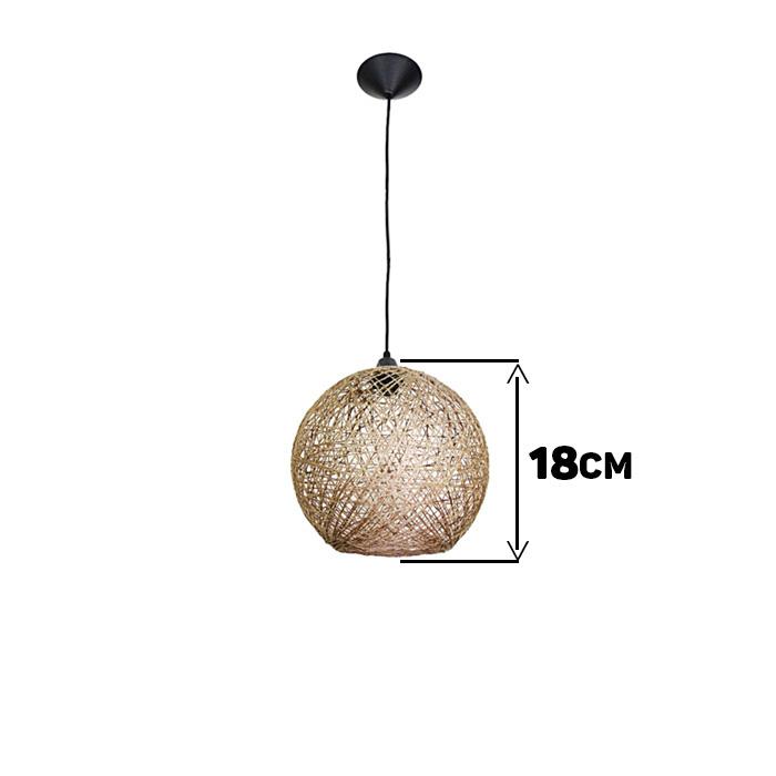 Luminária Rústica de Teto Fibra Natural 18 cm