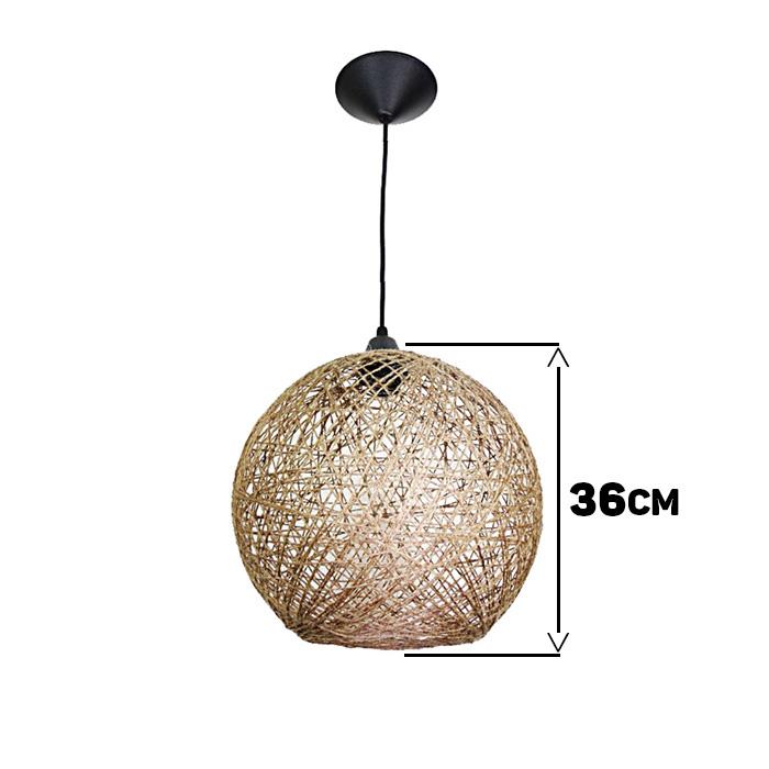 Luminária Rústica de Teto Fibra Natural 36 cm