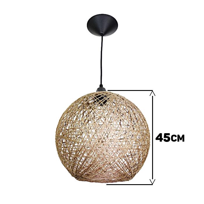 Luminária Rústica de Teto Fibra Natural 45 cm