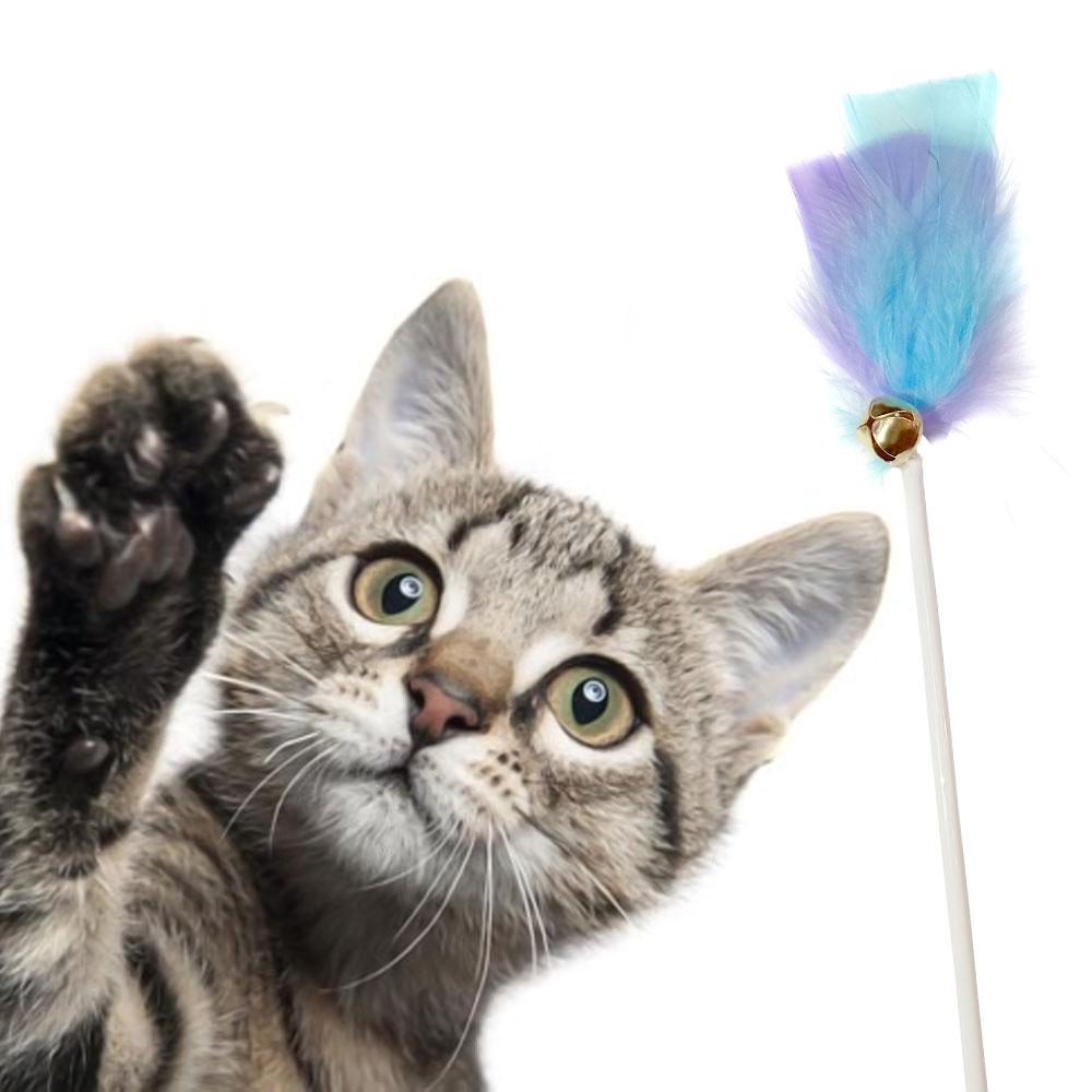 Varinha KeT Pena Gato 10 Un. Brinquedo com Ventosa e Guizo