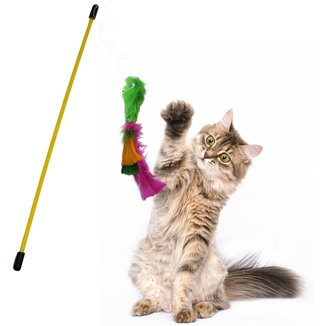 Varinha para Gatos Cat Fishing Mouse Rato Brinquedo Sortido