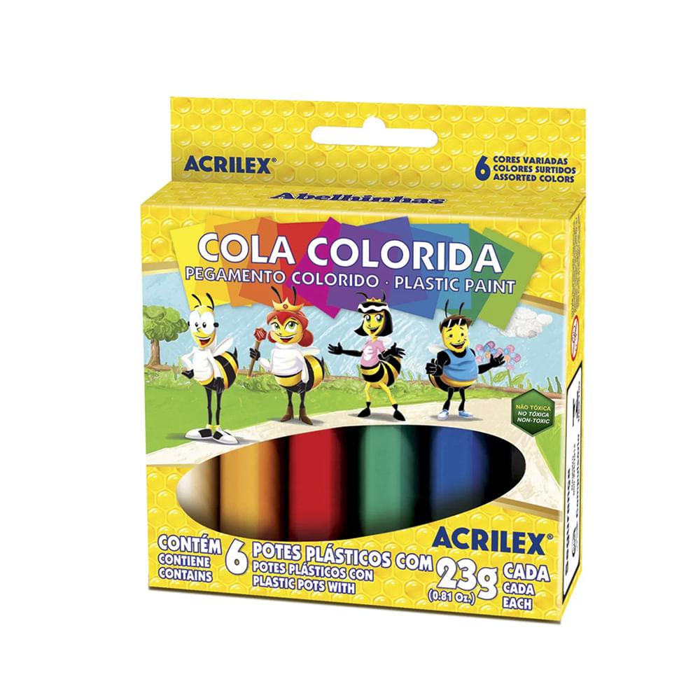 COLA COLORIDA COM 6 ACRILEX