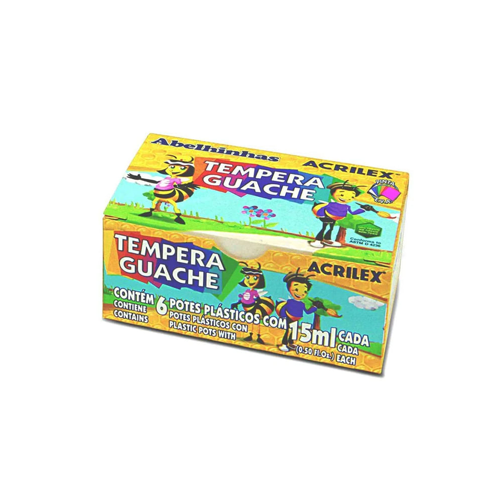 TINTA TEMPERA GUACHE COM 6 ACRILEX