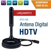 ANTENA DIGITAL HDTV CABO 5M C/BASE MAGNETICA DTV-150