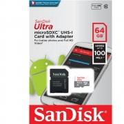 Cartão de Memória Micro SD Ultra San Disk 64GB