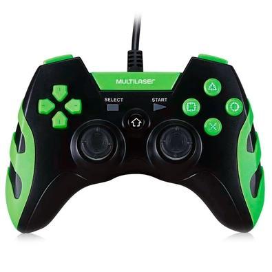 Controle Gamer para PS3 e PC Preto e Verde JS091