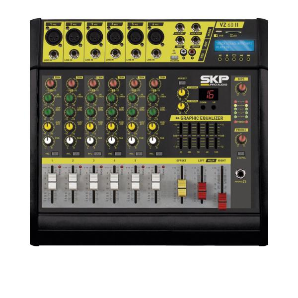Mesa de Som Amplificada 6 Canais 400W com MP3 Entrada USB com Efeitos VZ-60A II