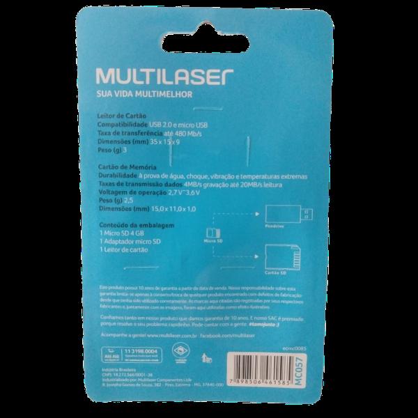 Pen Drive 4GB 3 em 1 Micro SD+Adaptador+Leitor USB MC057 Multilaser