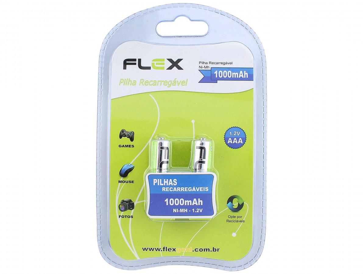 Pilha Recarregável Flex AAA Com 2 Pilhas 1000 Mah Fx-AAA10Lb2
