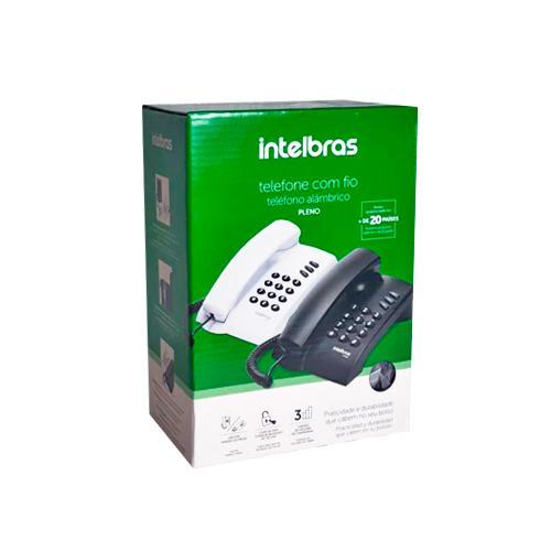Telefone com Fio Modo Flash Redial Três Volumes Preto Pleno com Chave