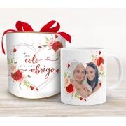 Caneca para mãe com foto na Tubolata - Floral Vermelho