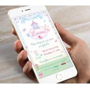 Convite Digital Chá Bebê / Fraldas - Passarinhos