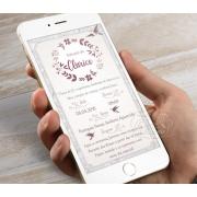 Convite Digital para Whatsapp - Pássaros Cinza