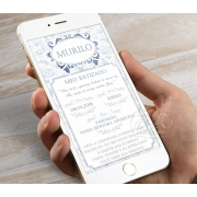 Convite Digital para Whatsapp - Toile de Jouy Azul