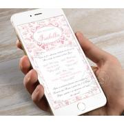 Convite Digital para Whatsapp - Toile de Jouy Rosa