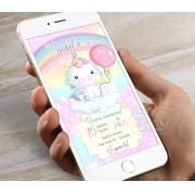 Convite Digital Unicórnio Cute