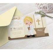 Convite Primeira Comunhão / Eucaristia com Envelope  -  Tema Eucharist Brown