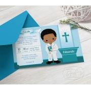 Convite Primeira Comunhão / Eucaristia com Envelope  -  Tema Eucharist Verde
