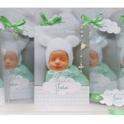 Livrinho de Orações  Personalizado com 3 Fotos da Criança com Mini terço embalado no Saquinho de Organza - 10X14 cm