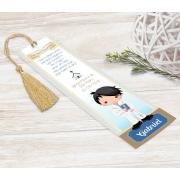 Marcador Livro / Santinho Personalizado - Cálice Azul e Dourado