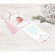 Marcador Livro / Santinho Personalizado com Foto - Floral Azul e Rosa