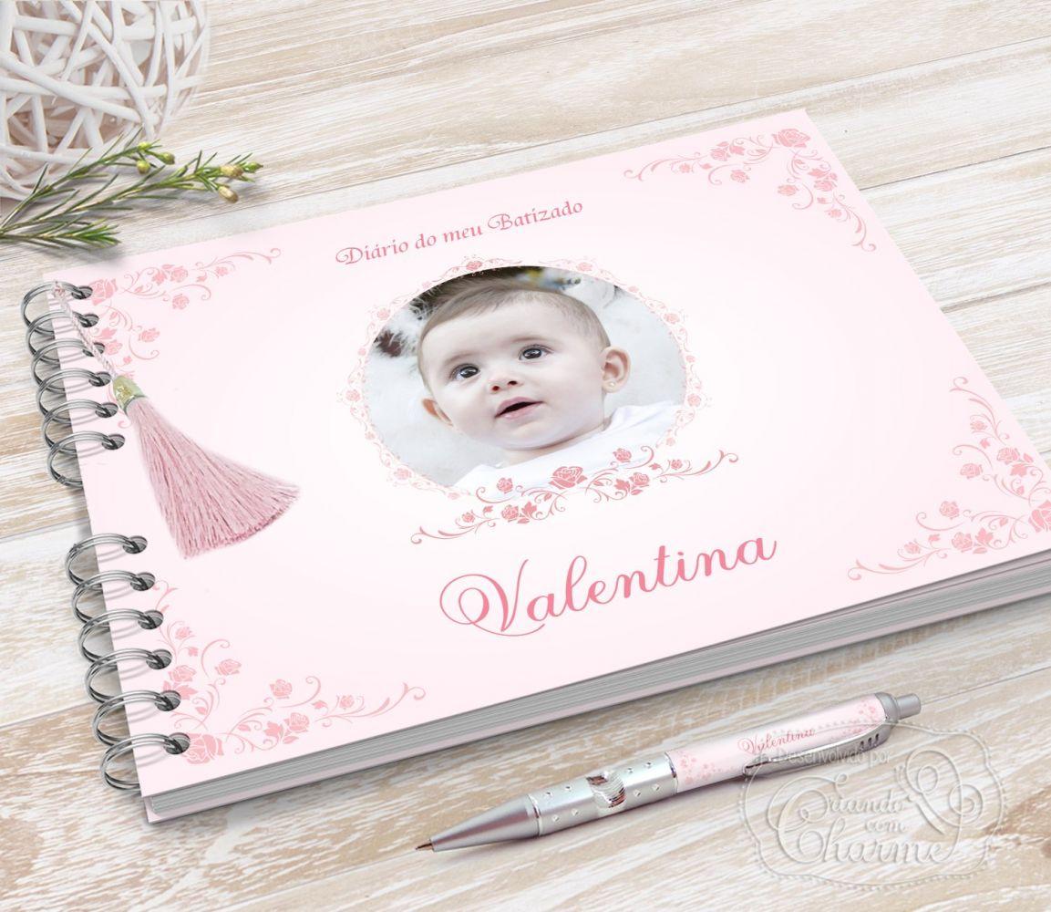 Álbum / Diário do Batizado com foto do bebê na capa
