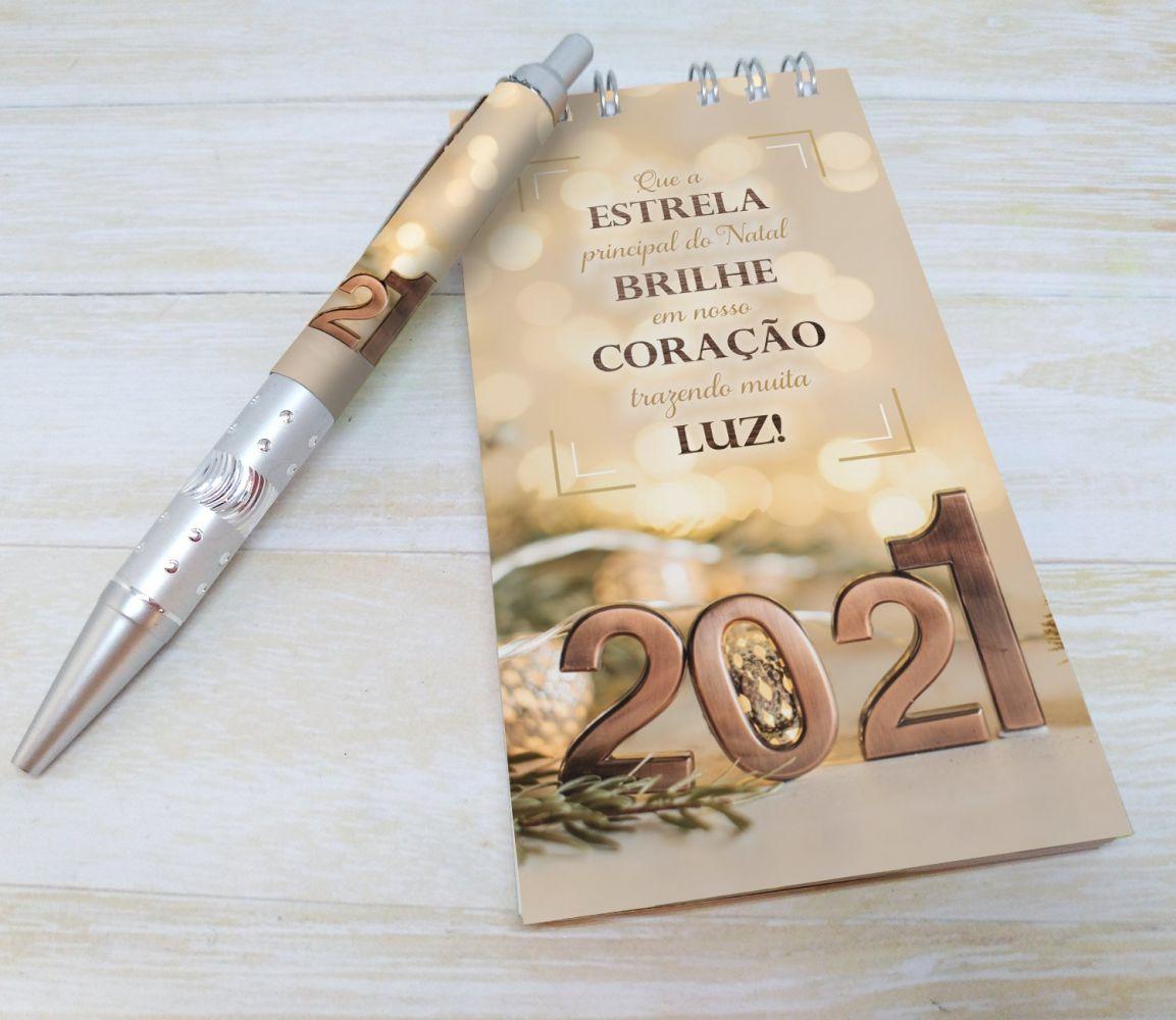 Bloquinho com Caneta e Calendário - Brinde Final de Ano - NATAL LUZES