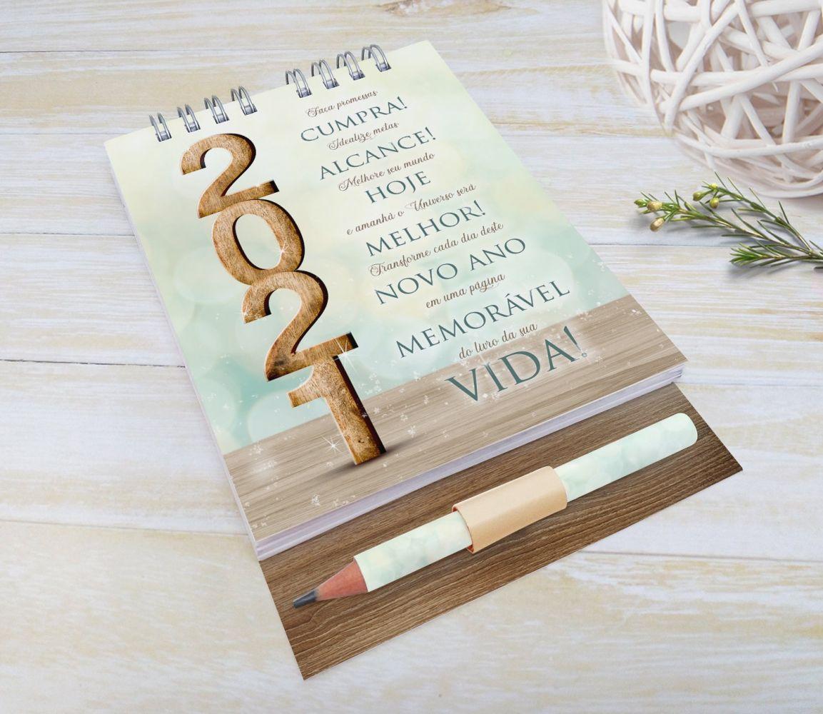 Bloquinho com Lápis e Calendário para Final de Ano - MODERN