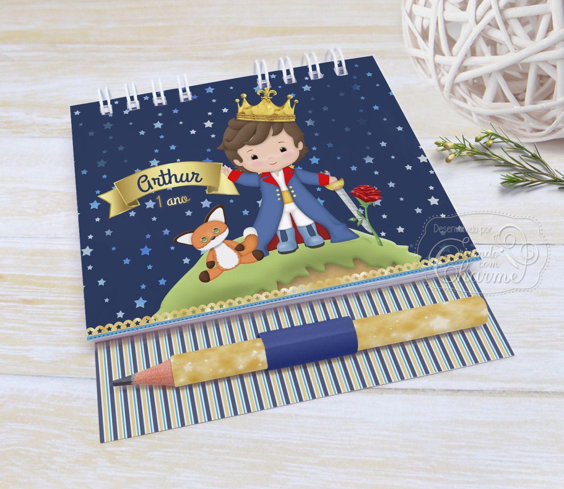Bloquinho Personalizado Capa Dura com lápis - Pequeno Príncipe