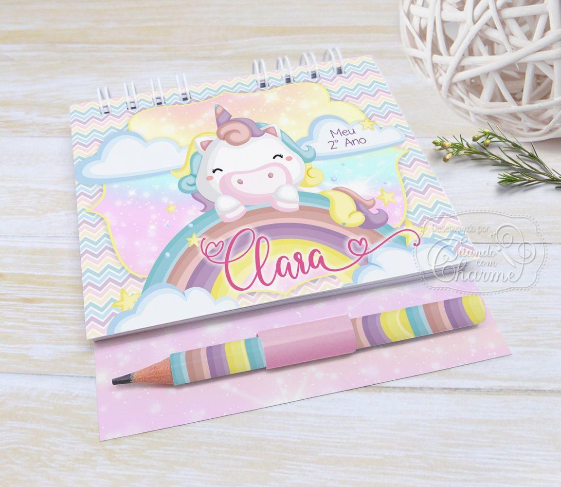 Bloquinho Personalizado Capa Dura com lápis - Tema Unicórnio Cute