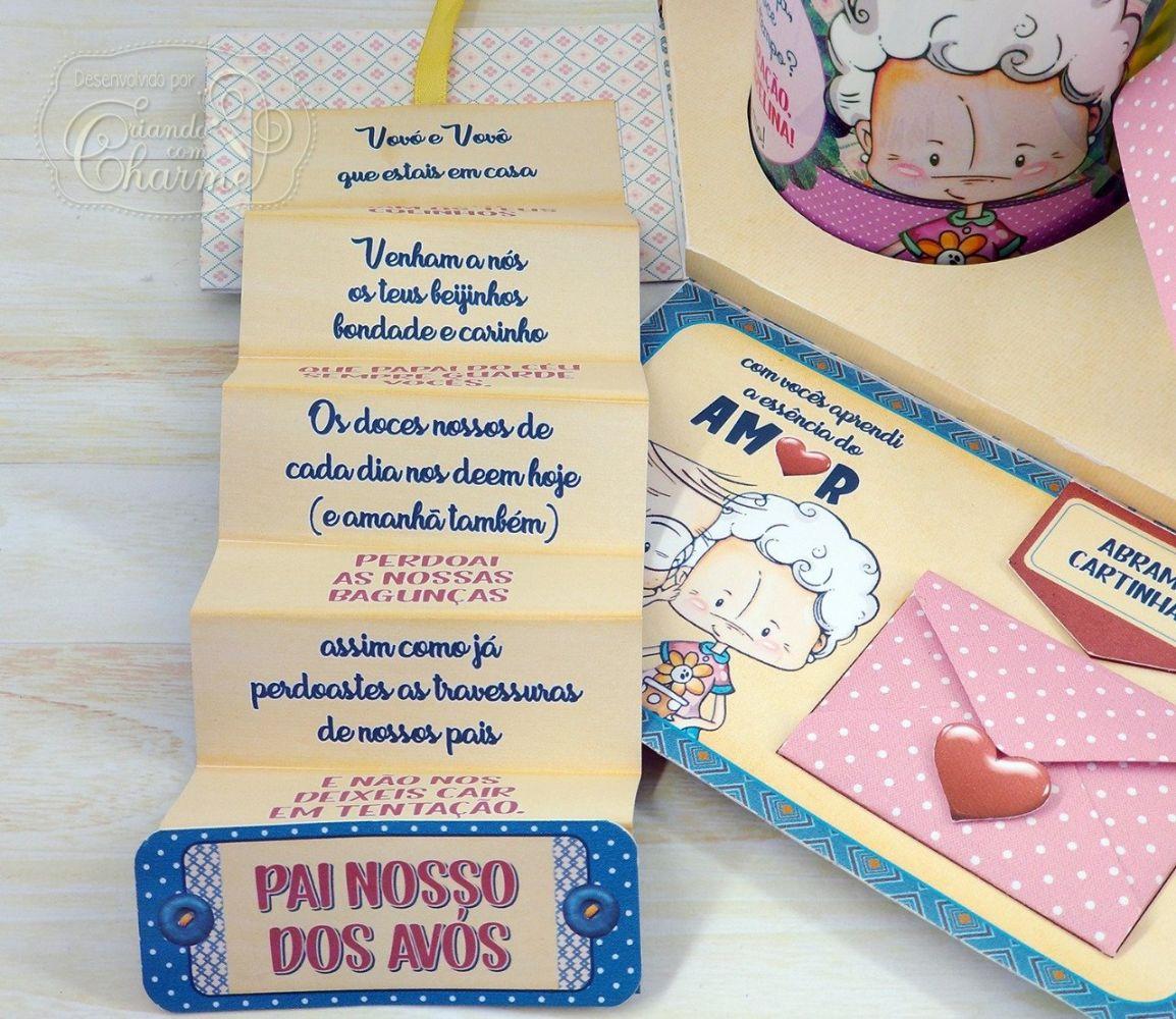 Caixa Explosão com Surpresas, Fotos, Mensagens e 2 Canecas Personalizadas - Presente Dia dos Avós