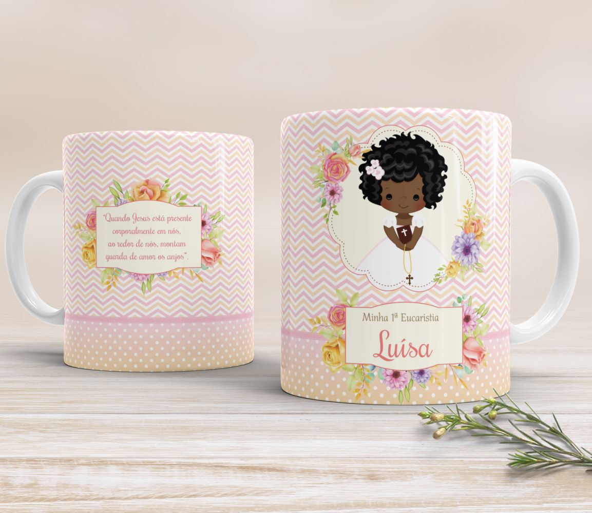 Caneca de Cerâmica Personalizada - Floral Chevron