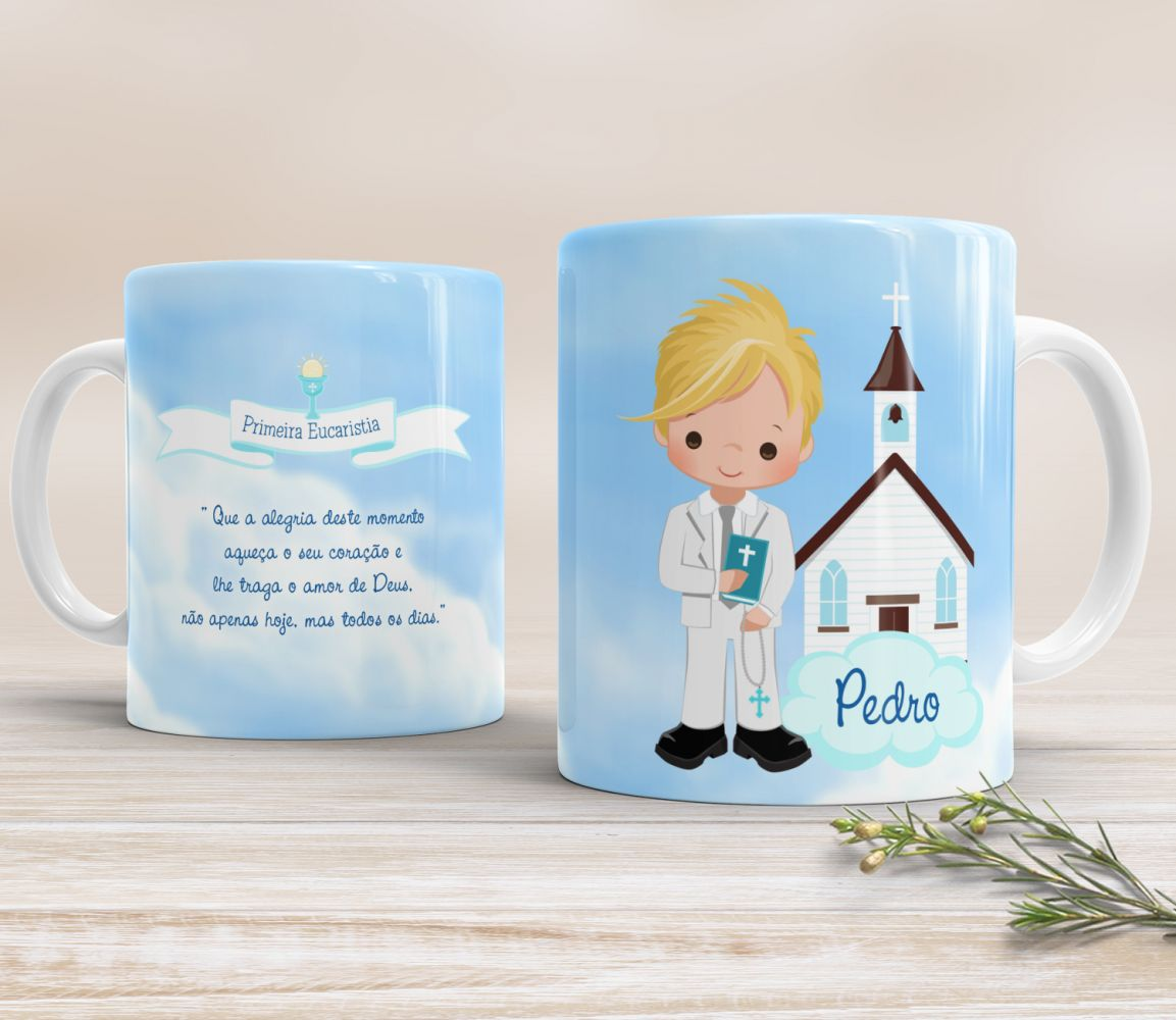 Caneca de Cerâmica Personalizada - Menino Igreja