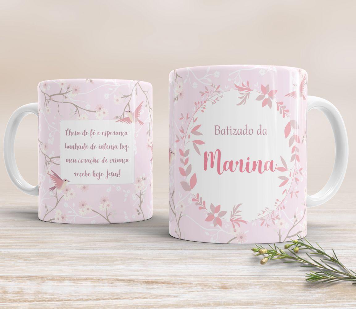Caneca de Cerâmica Personalizada - Pássaros Rosa
