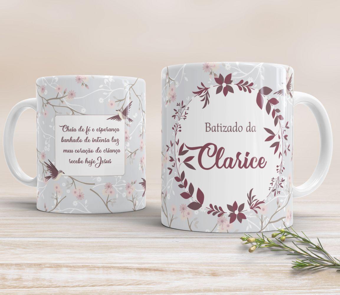 Caneca de Cerâmica Personalizada - Pássaros Vinho