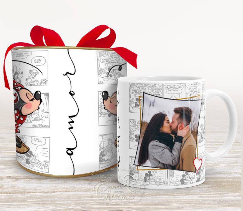 Caneca Dia dos Namorados na Tubolata - Mickey e Minnie