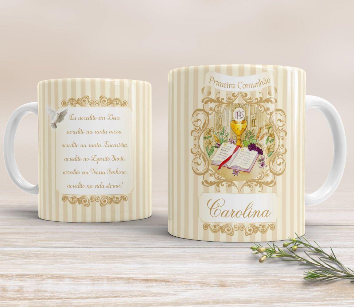 Caneca Personalizada Primeira Comunhão / Eucaristia - Arabescos