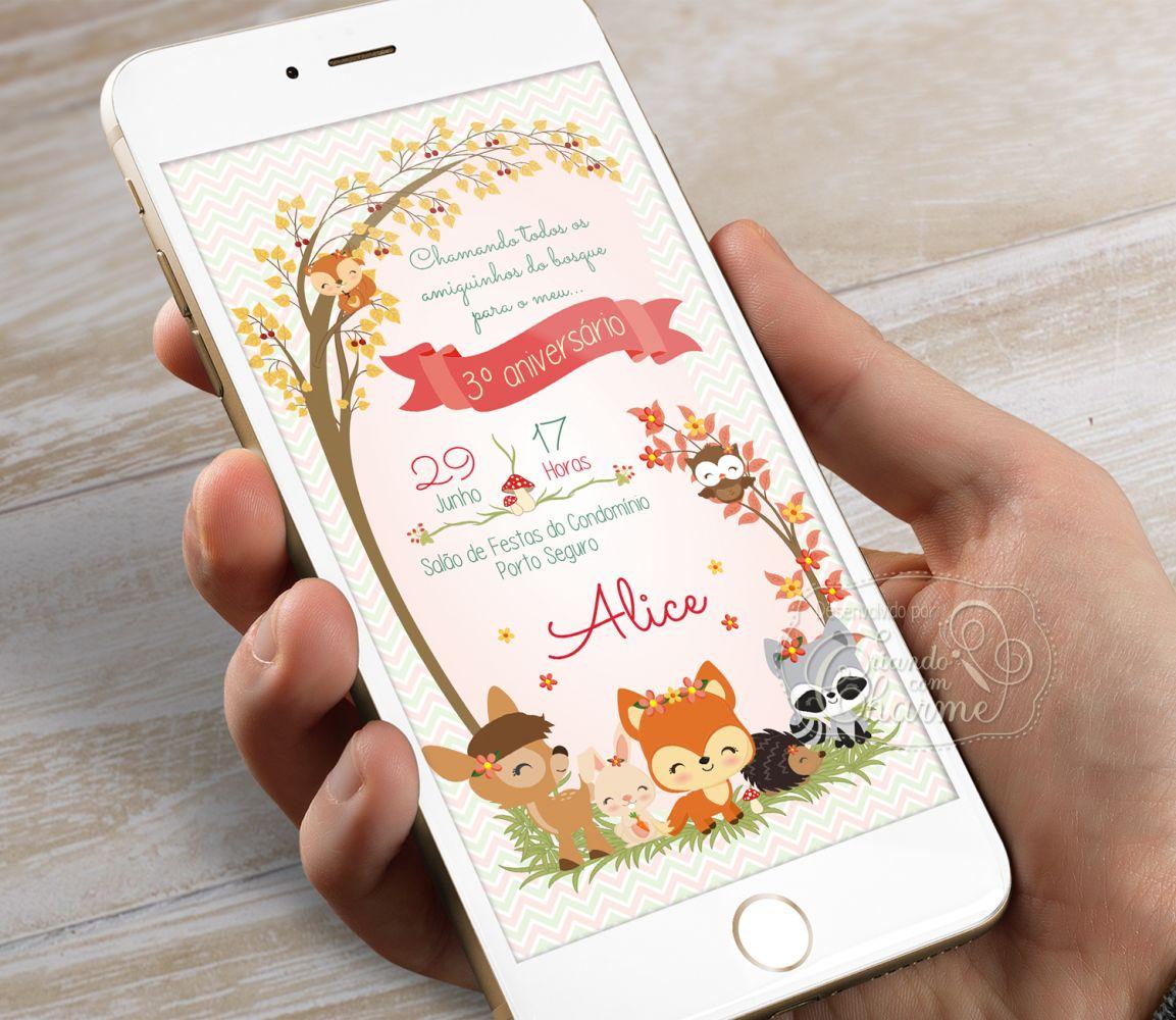Convite Digital Aniversário - Woodland