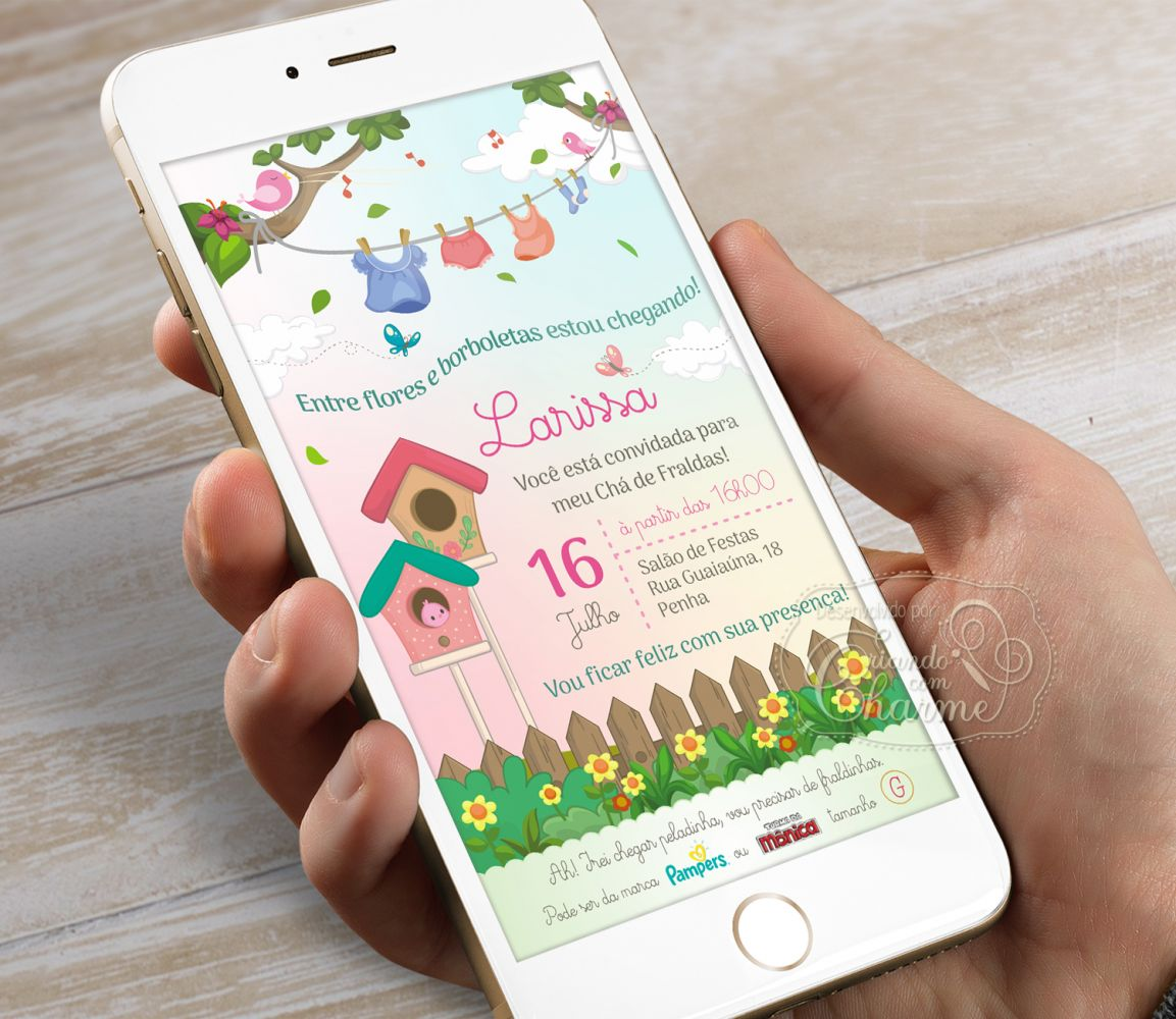Convite Digital Chá Bebê / Fraldas - Jardim Encantado