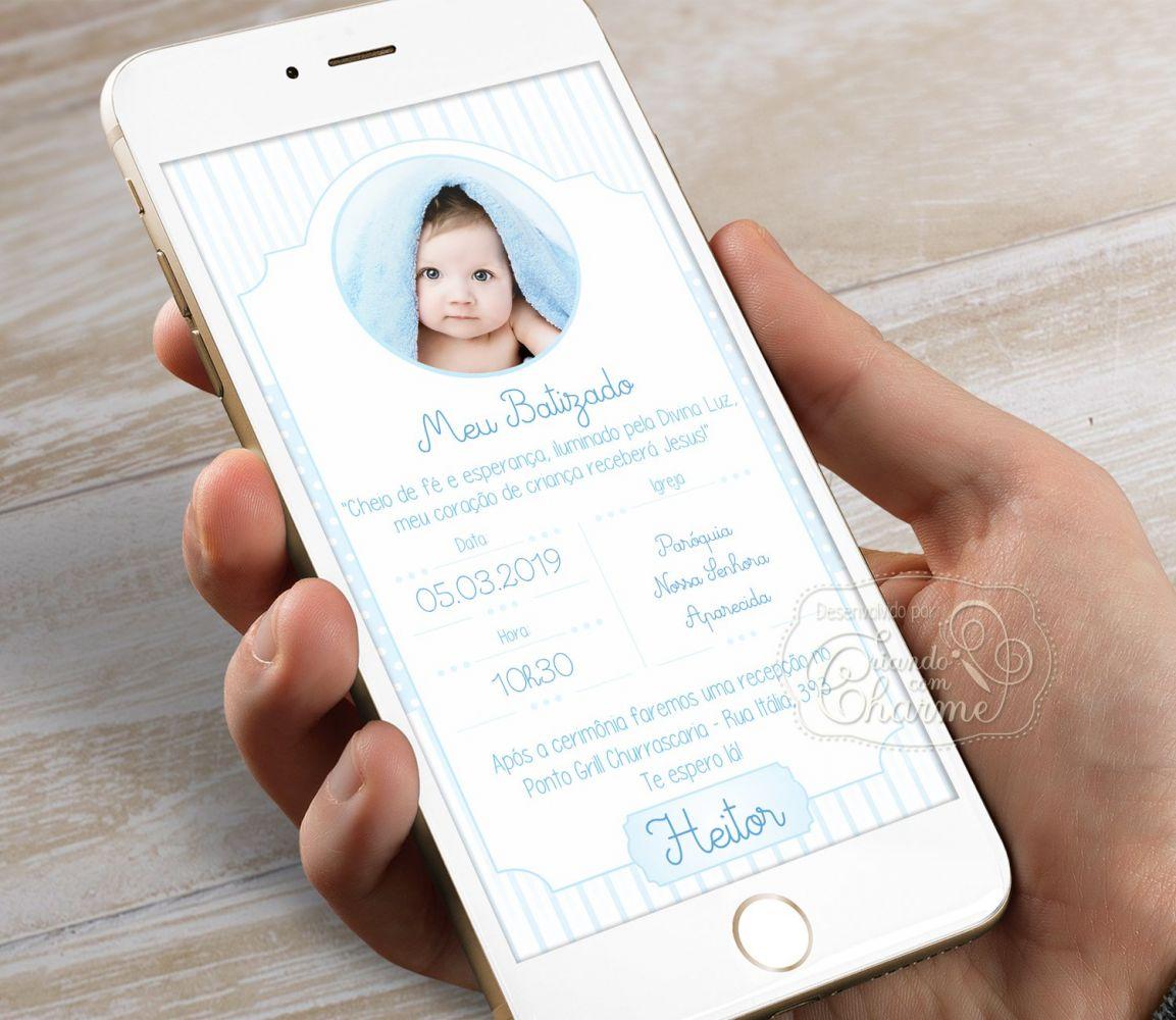 Convite Digital com a Foto do Bebê Personalizado - Azul Delicado