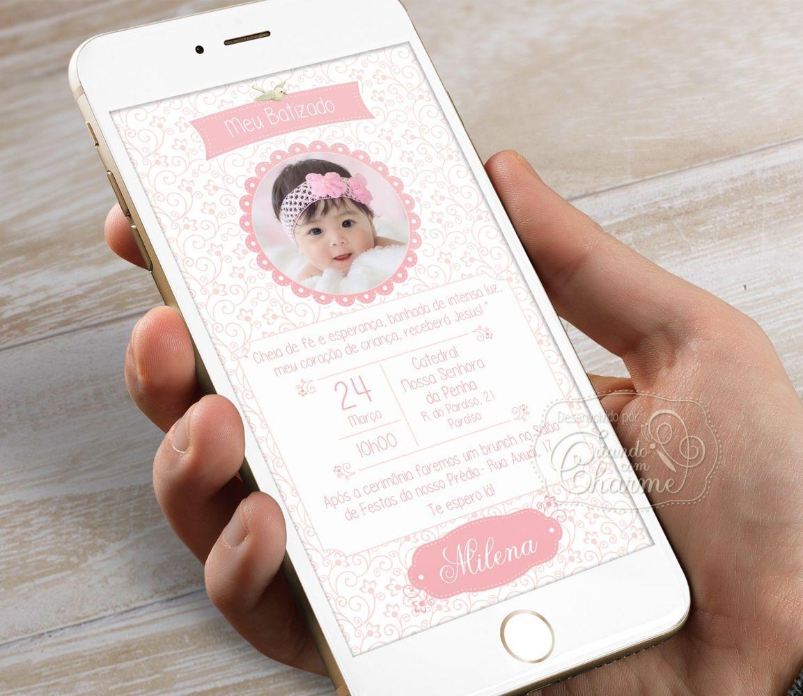 Convite Digital com a Foto do Bebê Personalizado - Rosa Delicado