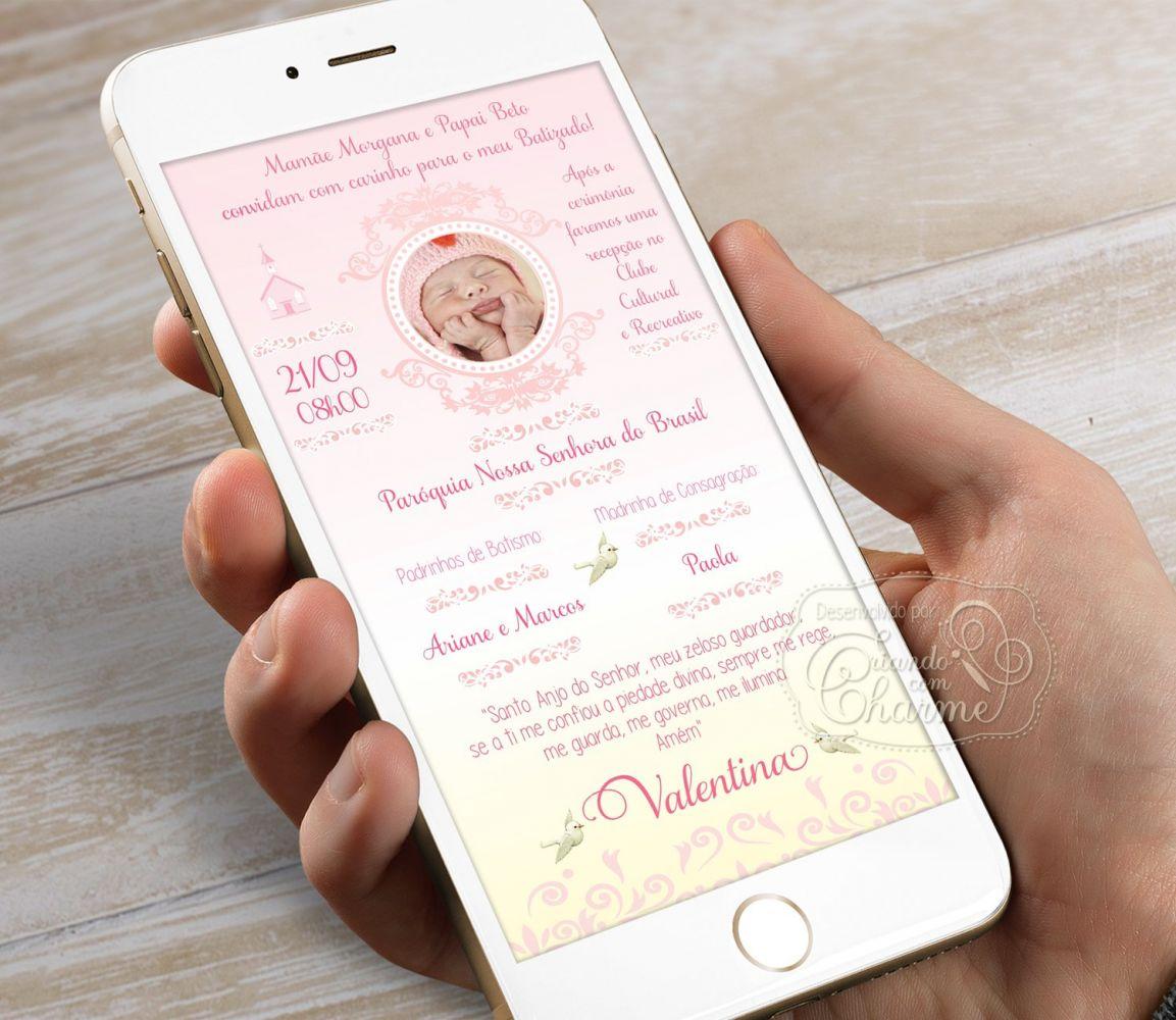 Convite Digital com a Foto do Bebê Personalizado - Rosa e Dourado