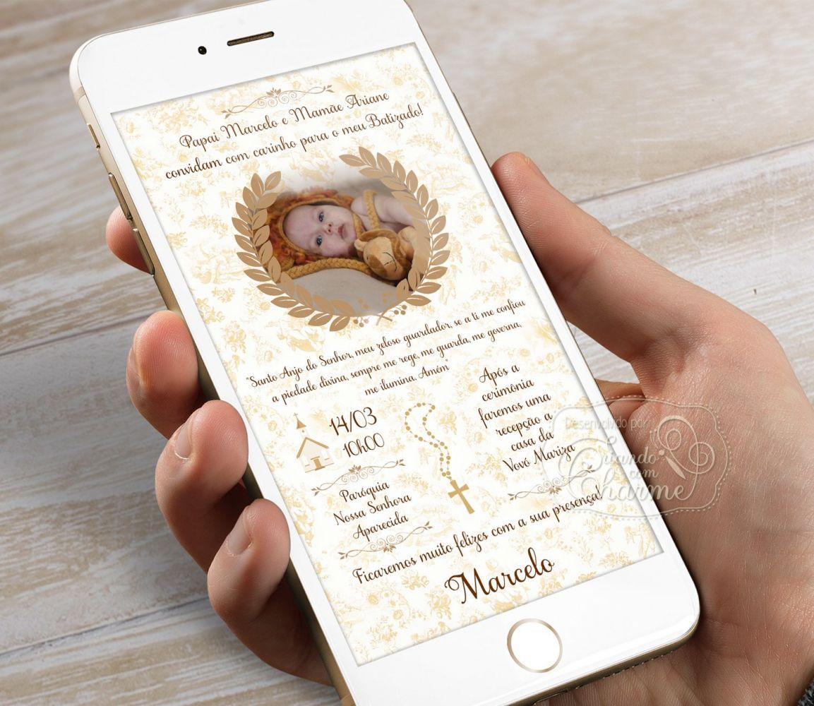 Convite Digital com a Foto do Bebê Personalizado - Toile Dourado