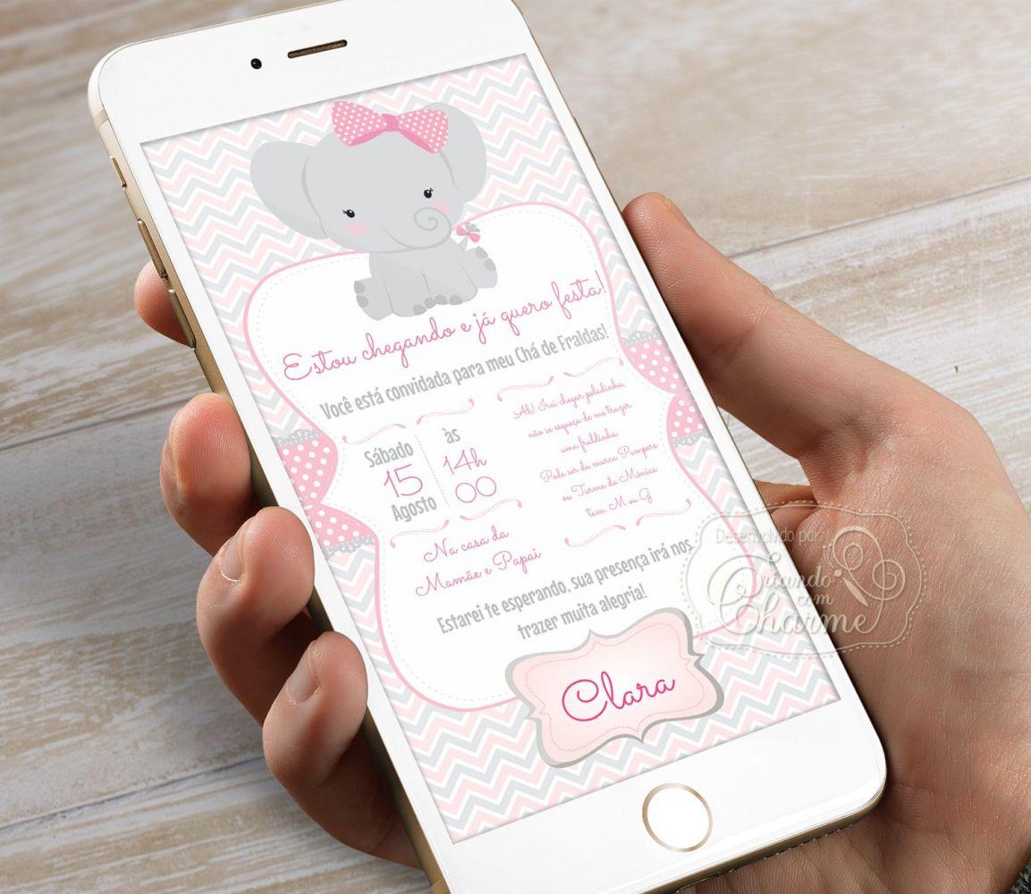 Convite Digital Elefantinha Rosa